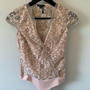 2/$18 Soft Pink Lace / Bodysuit / Cap Sleeve